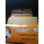 ถุงมือยางสีดำ ขนาด9.1/2 แบบหนา 3SWANS ART 141 (ยกโหล)